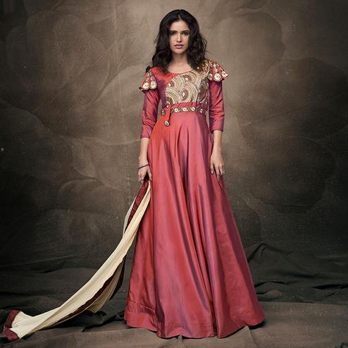 Opulent Pink Colored Party Wear Embroidered Tapeta Silk Gown