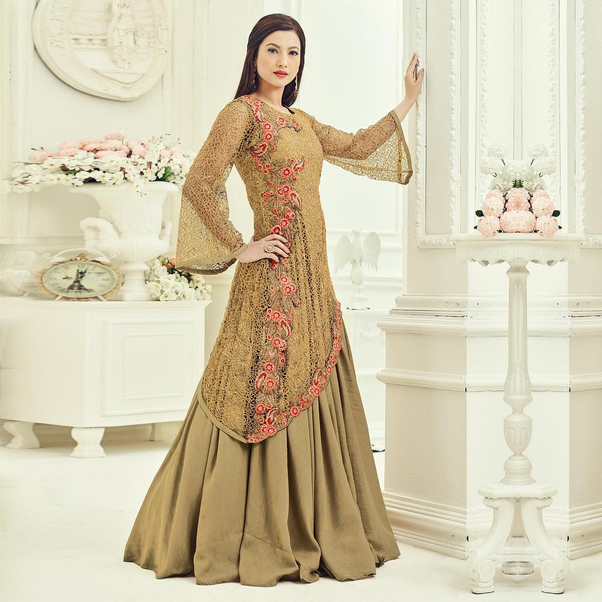 Beige Net Fabric Kameez with Lehenga & Dupatta
