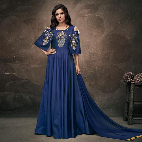 Dazzling Navy Blue Colored Party Wear Embroidered Tapeta Silk Gown