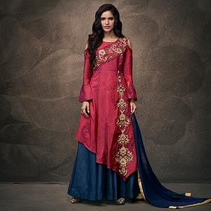 Breathtaking Pinkish Red - Navy Blue Colored Party Wear Embroidered Tapeta Silk Lehenga Kameez