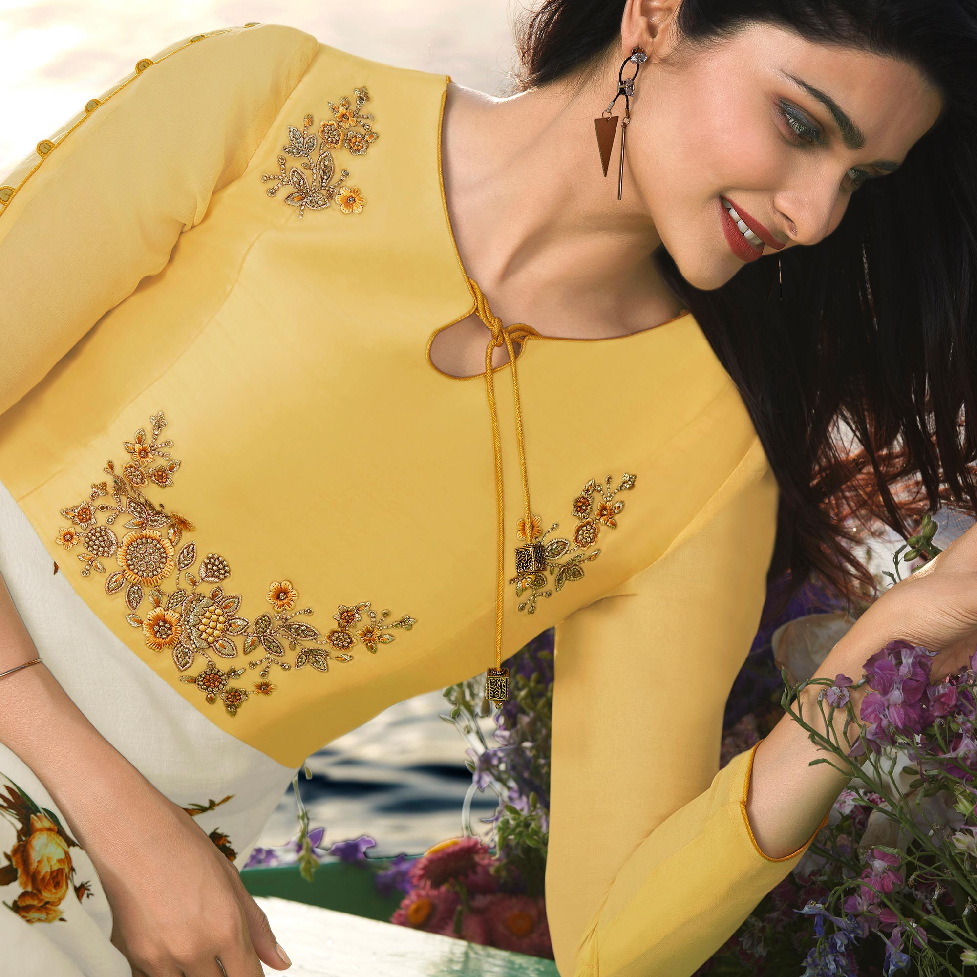 Intricate White & Yellow Colored Party Wear Printed Georgette Kurti