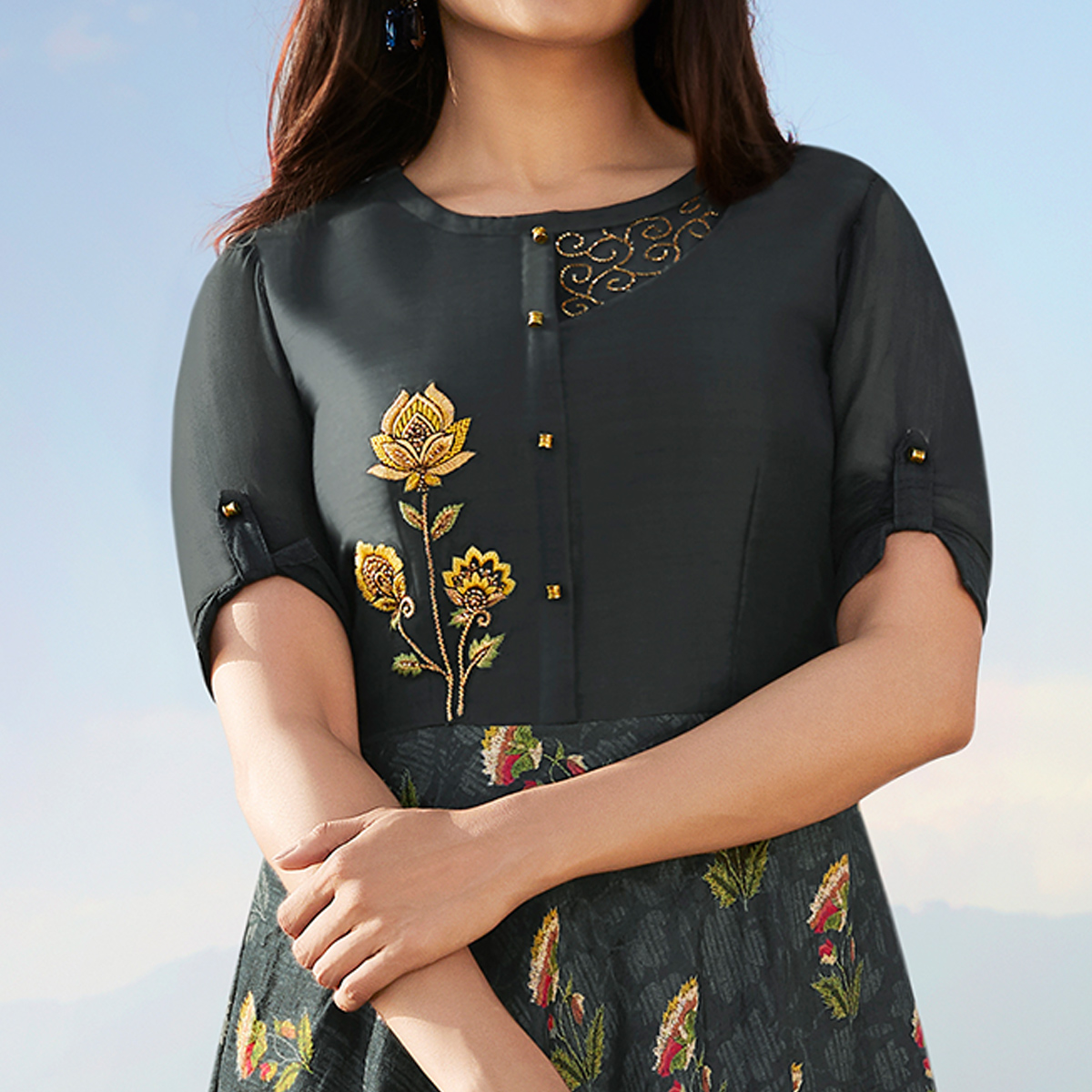 Desirable Dark Grey Colored Party Wear Printed Georgette Kurti