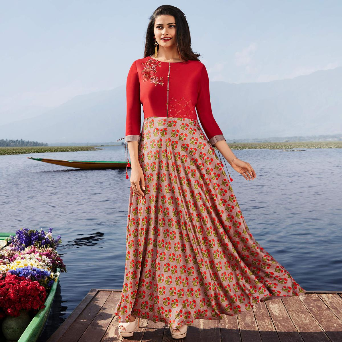 Pleasant Red & Mauve Colored Party Wear Printed Georgette Kurti