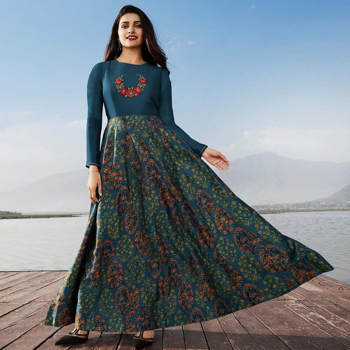 Unique Prussian Blue Colored Party Wear Printed Georgette Kurti