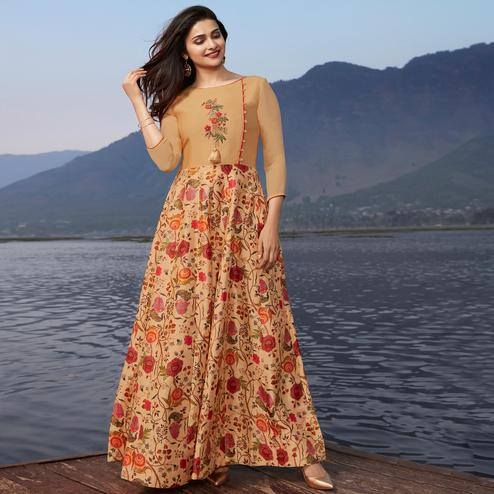 Refreshing Beige Colored Party Wear Printed Georgette Kurti
