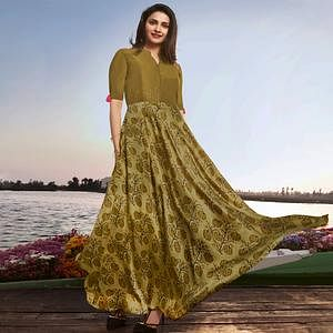 Elegant Olive Green Colored Party Wear Printed Georgette Kurti