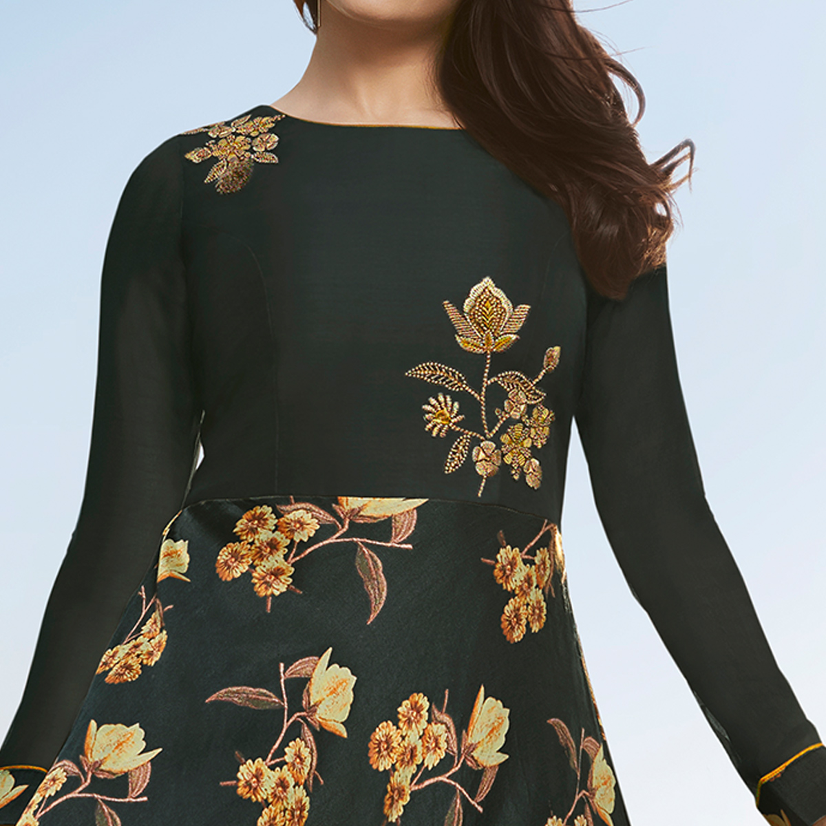 Alluring Dark Grey Colored Party Wear Printed Georgette Kurti