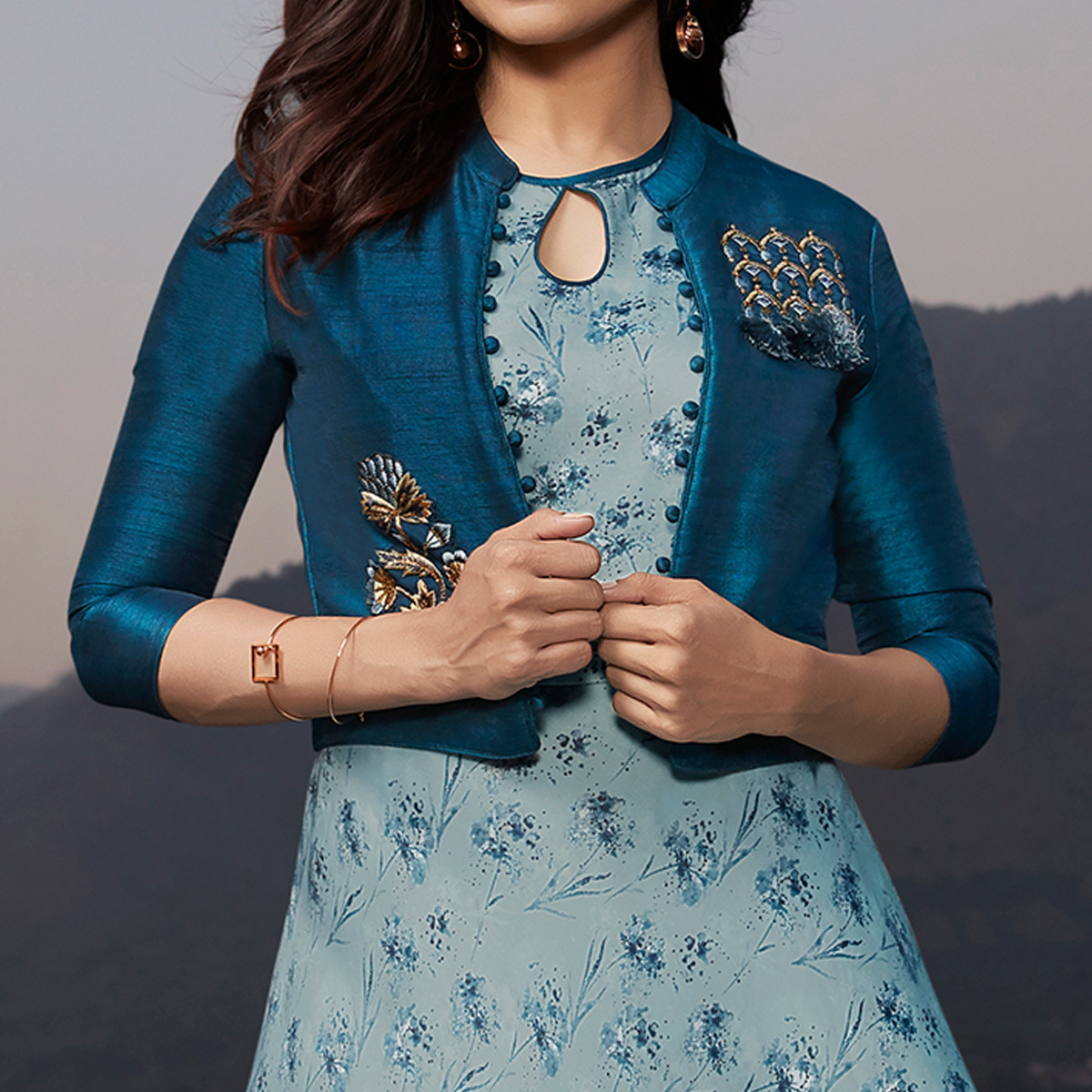 Radiant Sky Blue & Blue Colored Party Wear Printed Georgette Kurti