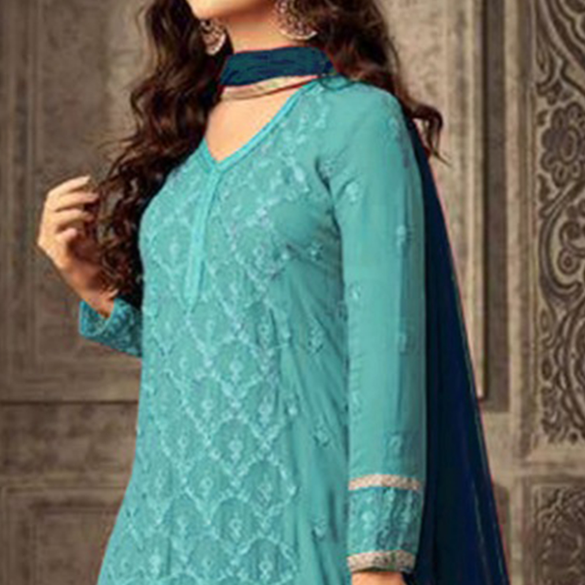 Jazzy Sky Blue Colored Party Wear Embroidered Georgette Suit