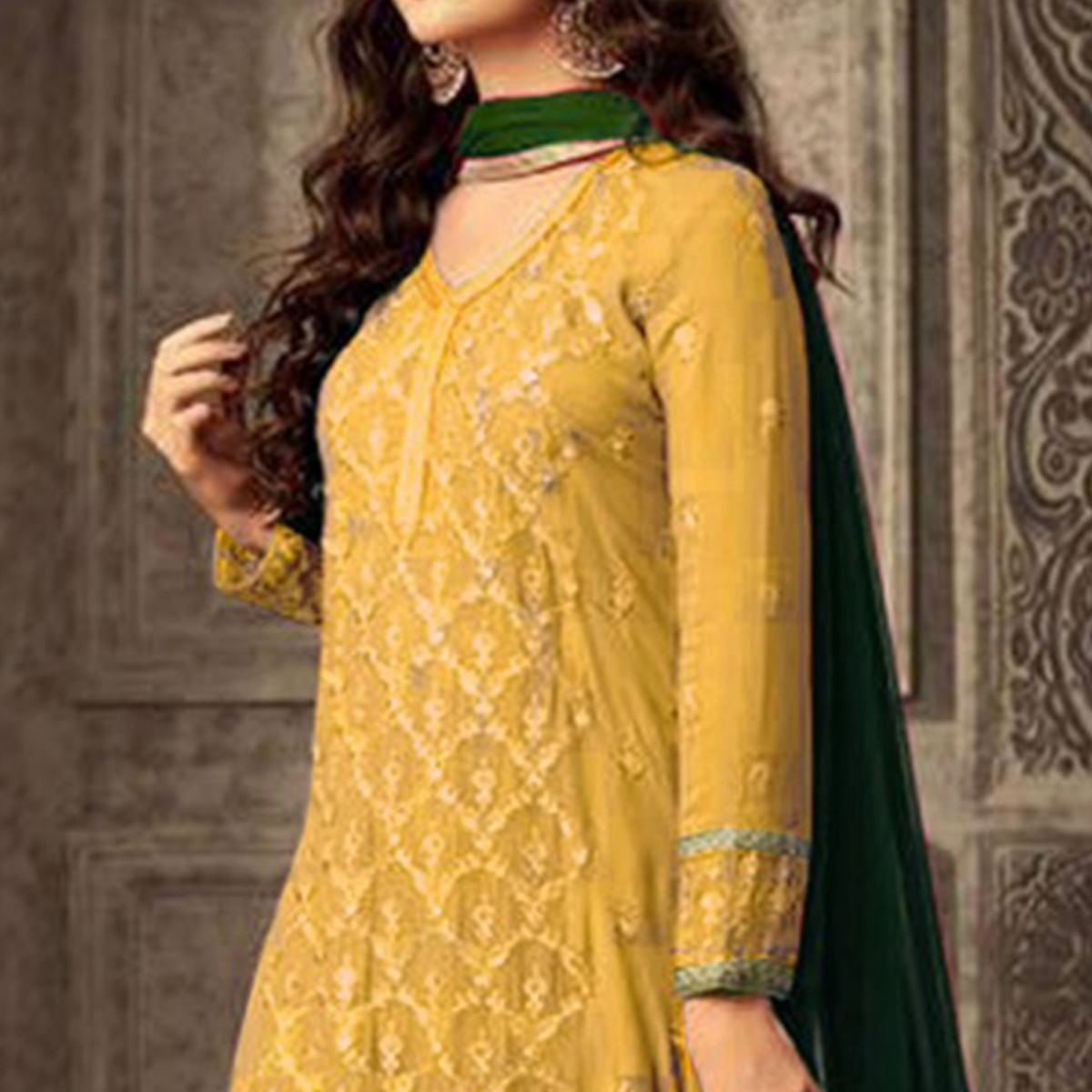 Appealing Yellow Colored Party Wear Embroidered Georgette Suit