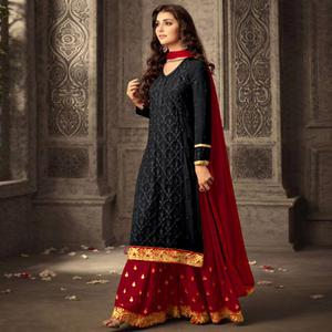 Groovy Black Colored Party Wear Embroidered Georgette Suit