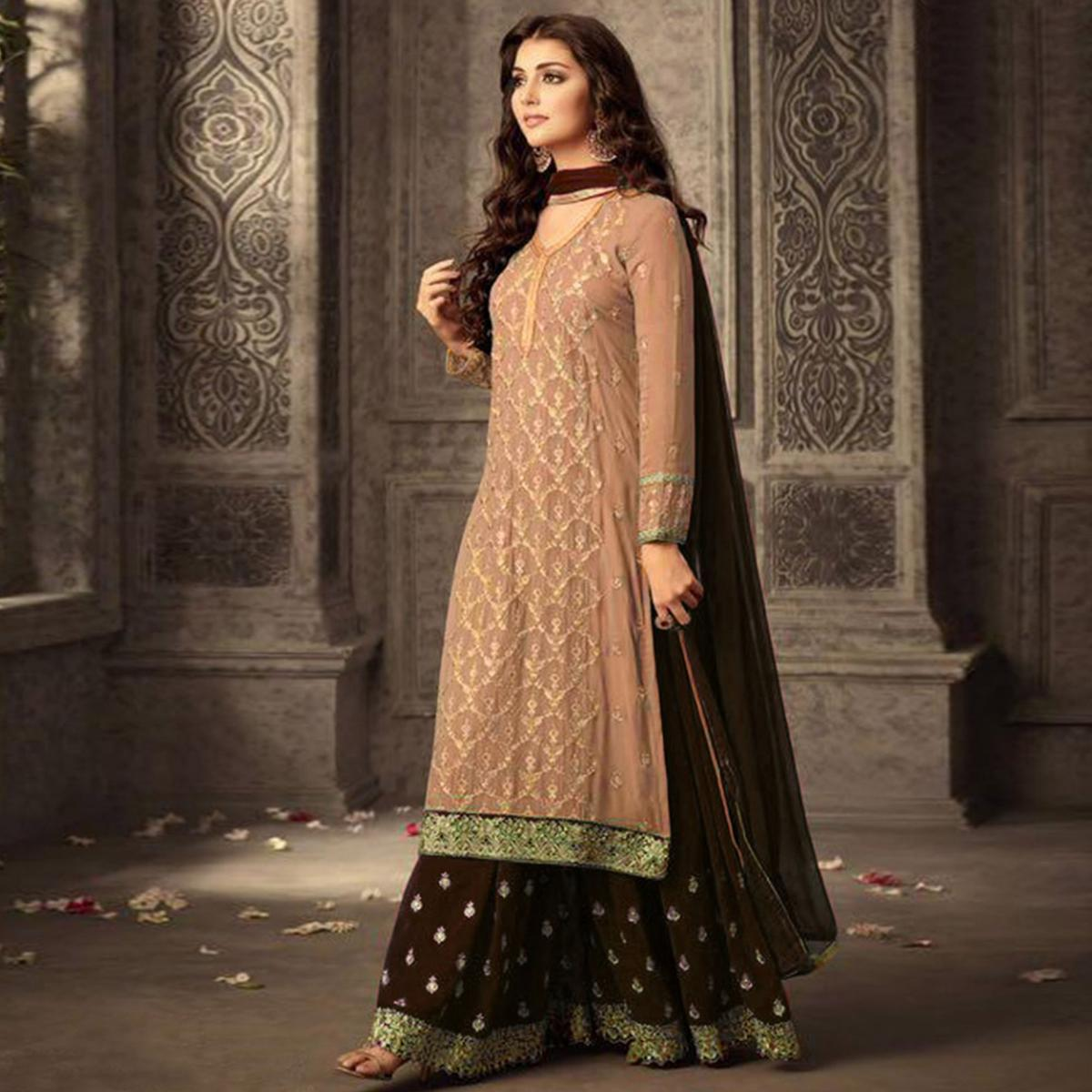 Prominent Light Brown Colored Party Wear Embroidered Georgette Suit