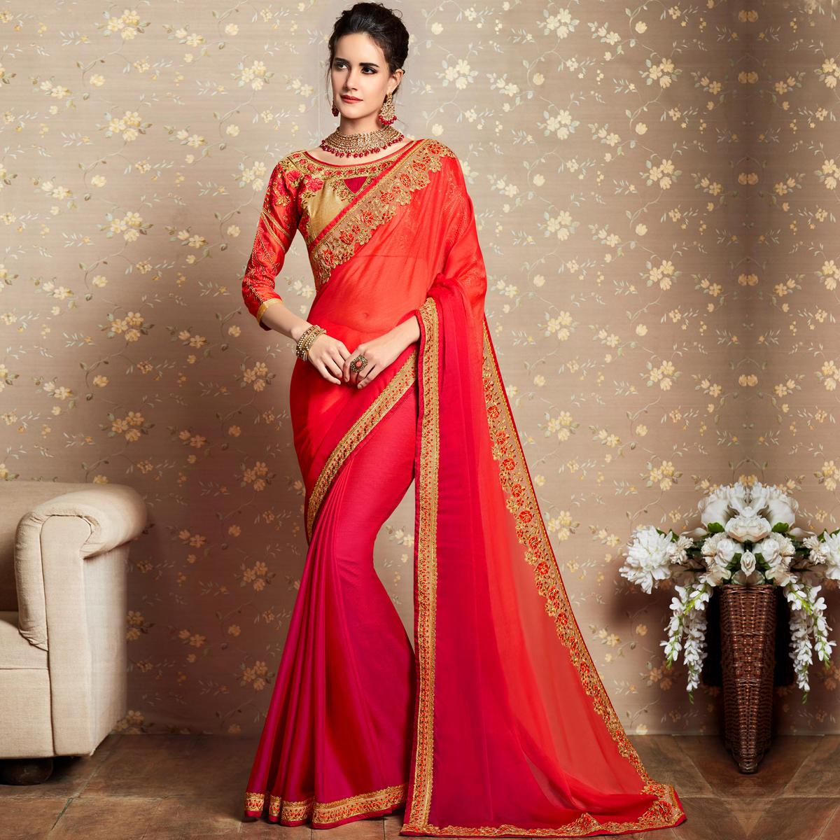 Intricate Shaded Pink Colored Party Wear Embroidered Georgette Saree