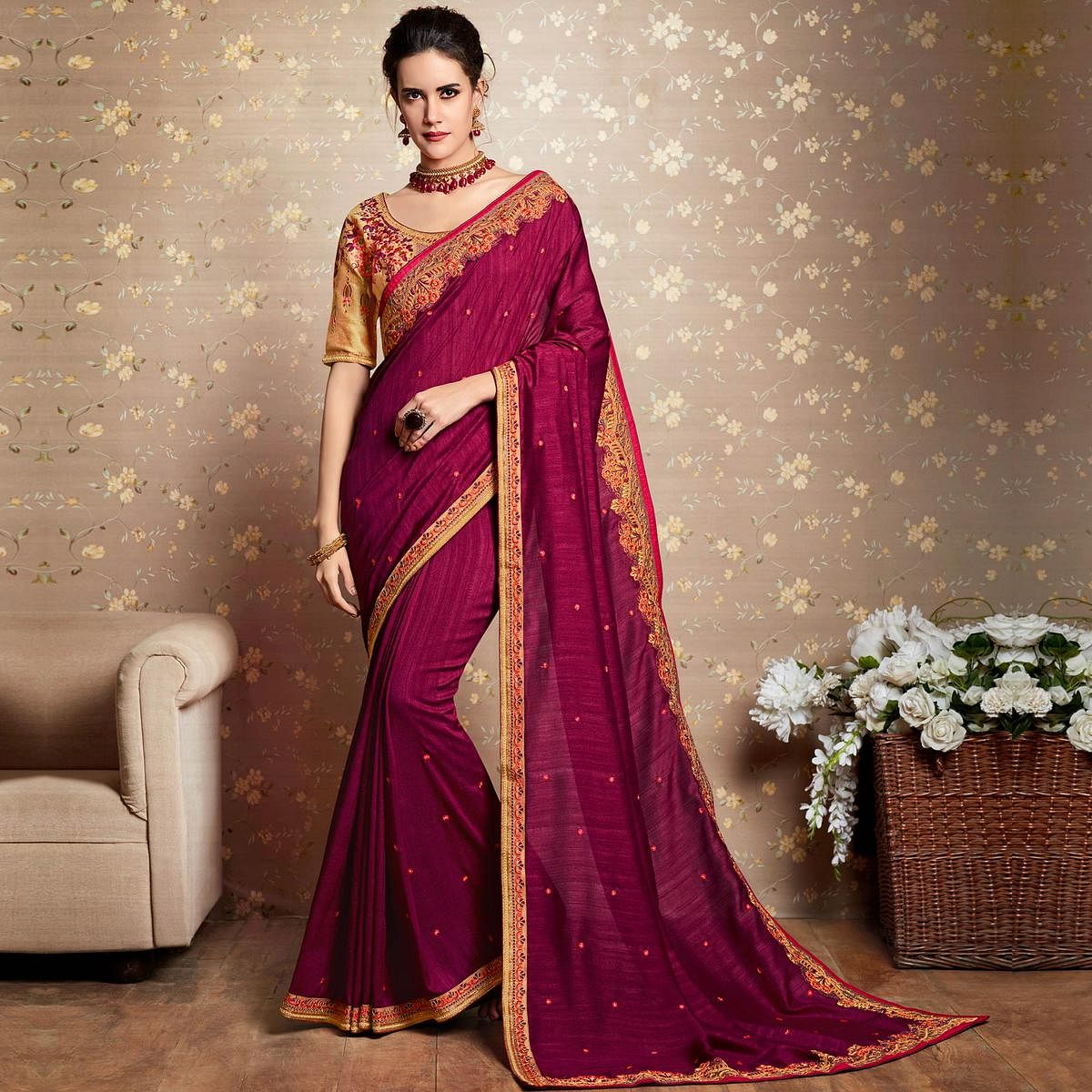 Desirable Purple Colored Party Wear Embroidered Art Silk Saree