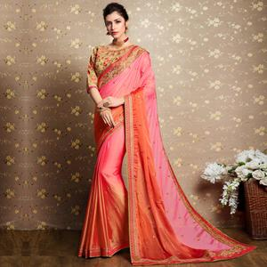 Demanding Pink - Peach Colored Party Wear Embroidered Georgette Saree