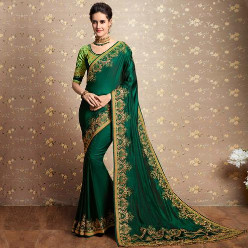 Pleasant Green Colored Party Wear Embroidered Barfi Silk Saree