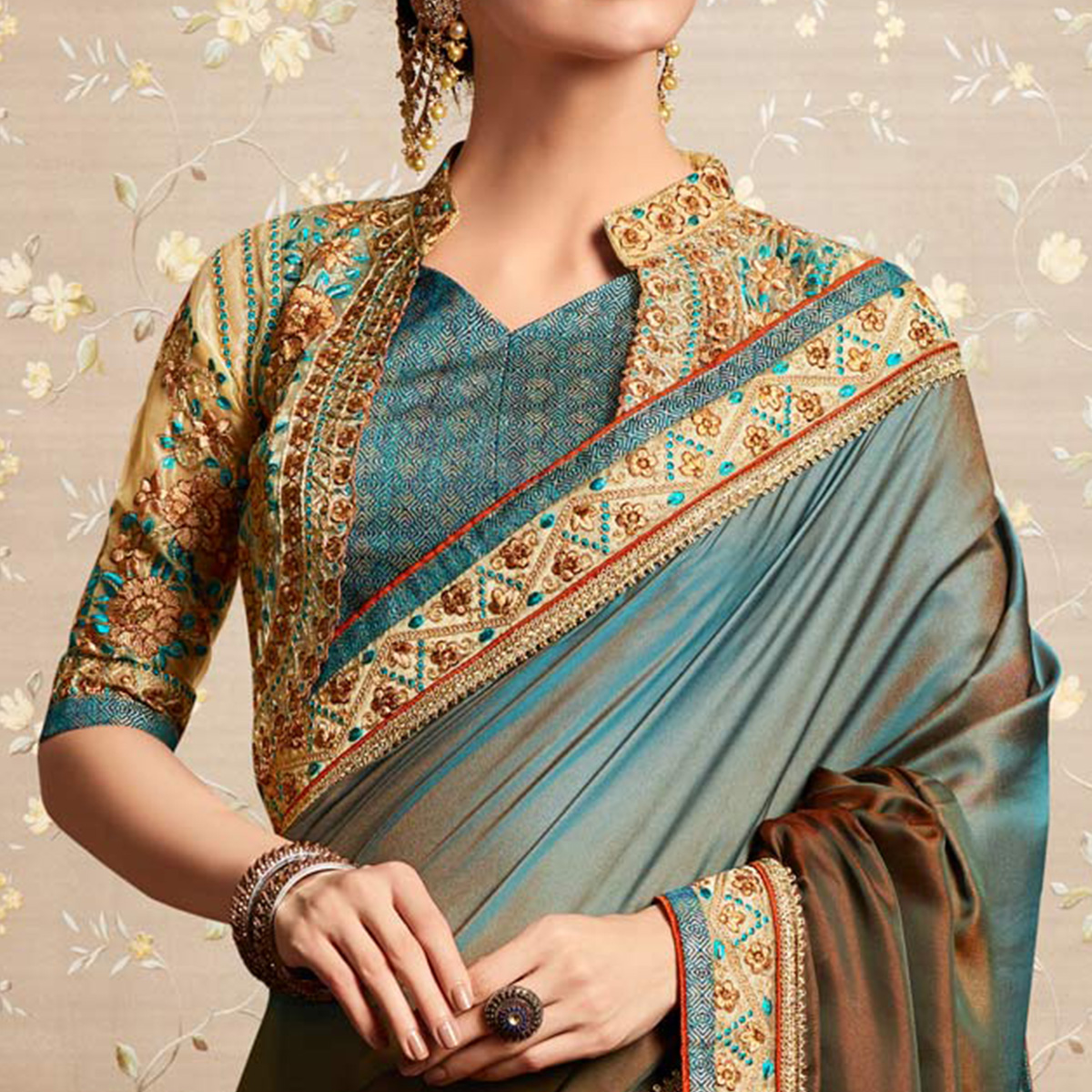 Refreshing Grey - Brown Colored Party Wear Embroidered Barfi Silk Saree