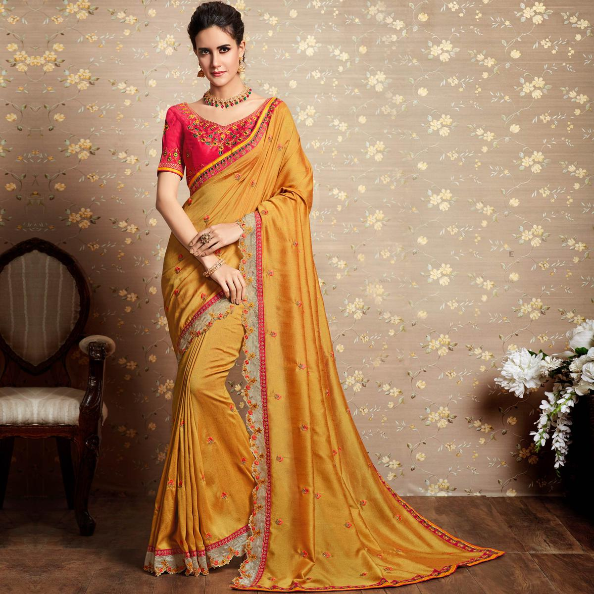 Elegant Yellow Colored Party Wear Embroidered Art Silk Saree