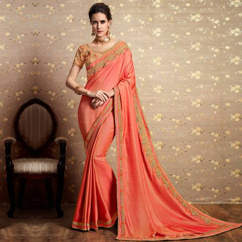 Alluring Peach Colored Party Wear Embroidered Art Silk Saree