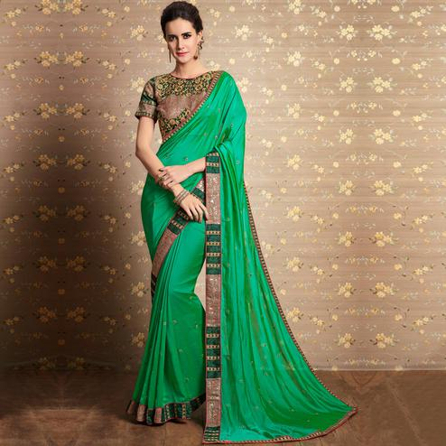 Radiant Green Colored Party Wear Embroidered Georgette Silk Saree