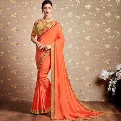 Sensational Peach Colored Party Wear Embroidered Art Silk Saree