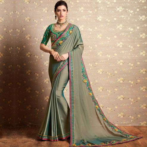 Opulent Grey Colored Party Wear Embroidered Barfi Silk Saree