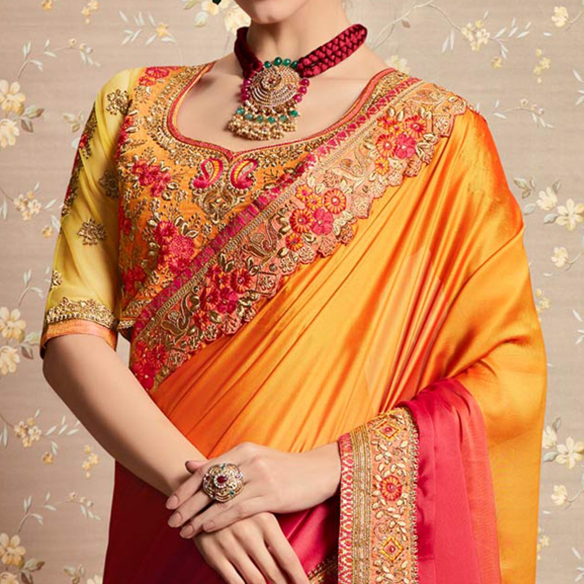 Dazzling Orange - Pink Colored Party Wear Embroidered Georgette Saree