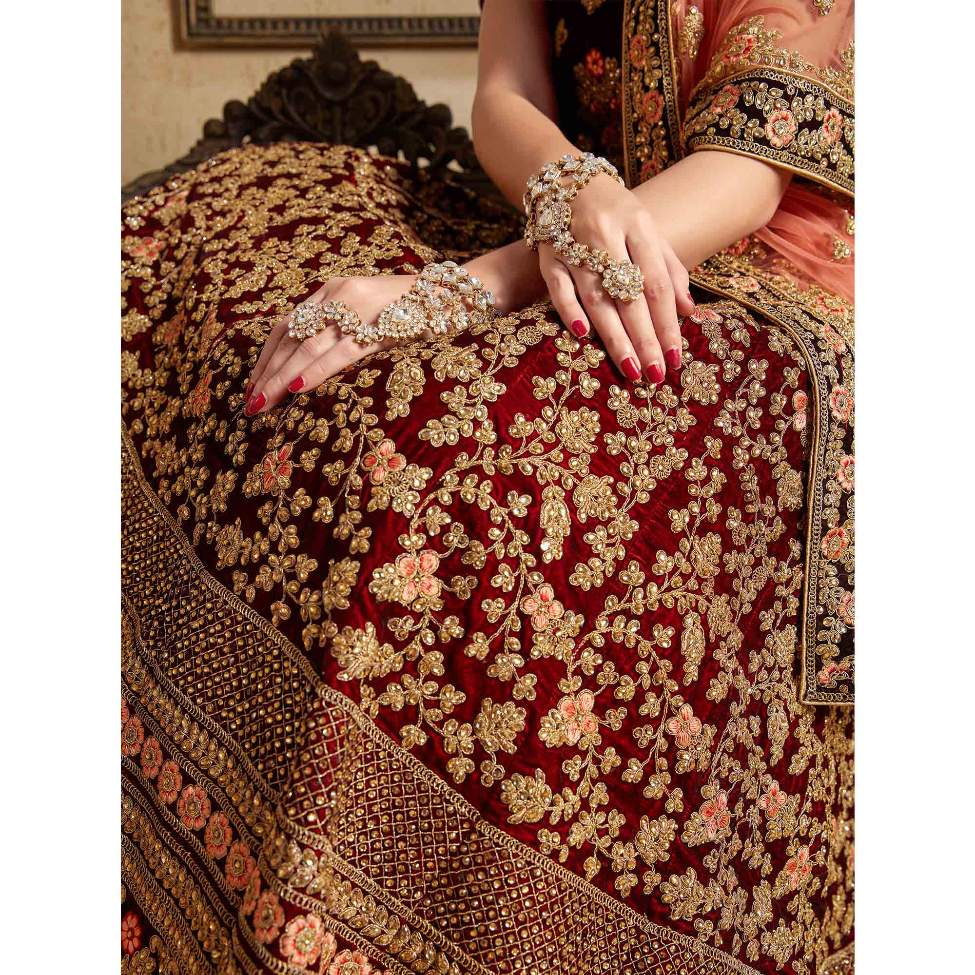 Gorgeous Maroon Colored Partywear Embroidered Pure Velvet Lehenga Choli