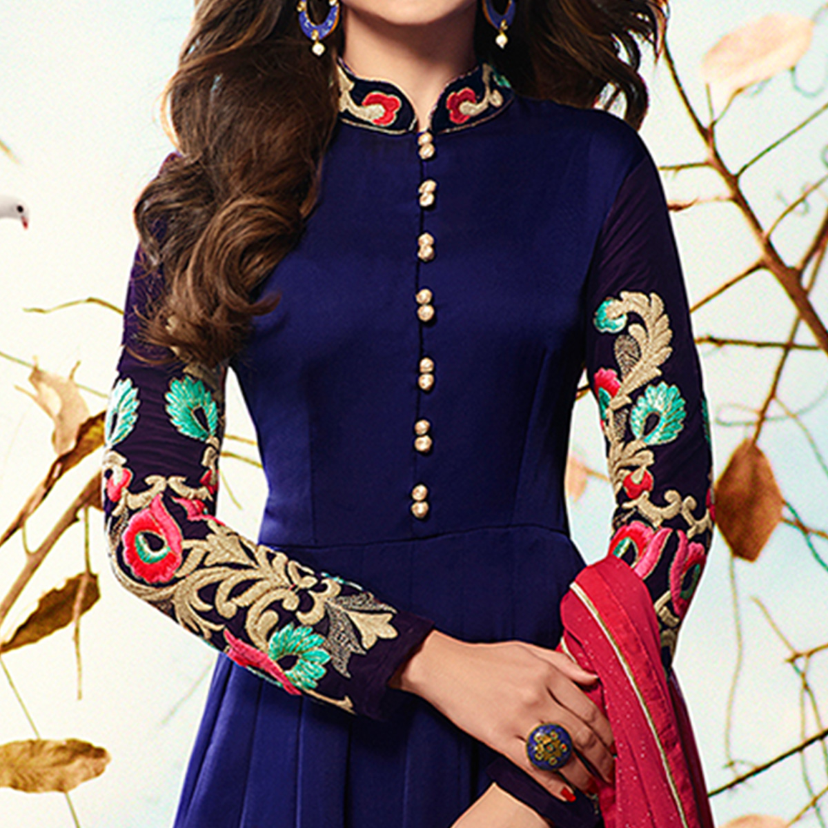 Pleasant Blue Colored Party Wear Embroidered Georgette Anarkali Suit
