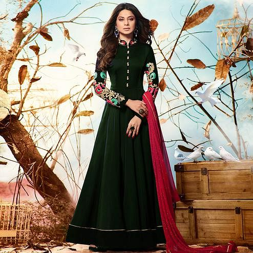 Unique Green Colored Party Wear Embroidered Georgette Anarkali Suit