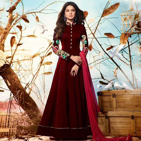 Refreshing Maroon Colored Party Wear Embroidered Georgette Anarkali Suit