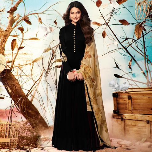 Starring Black Colored Party Wear Embroidered Georgette Anarkali Suit