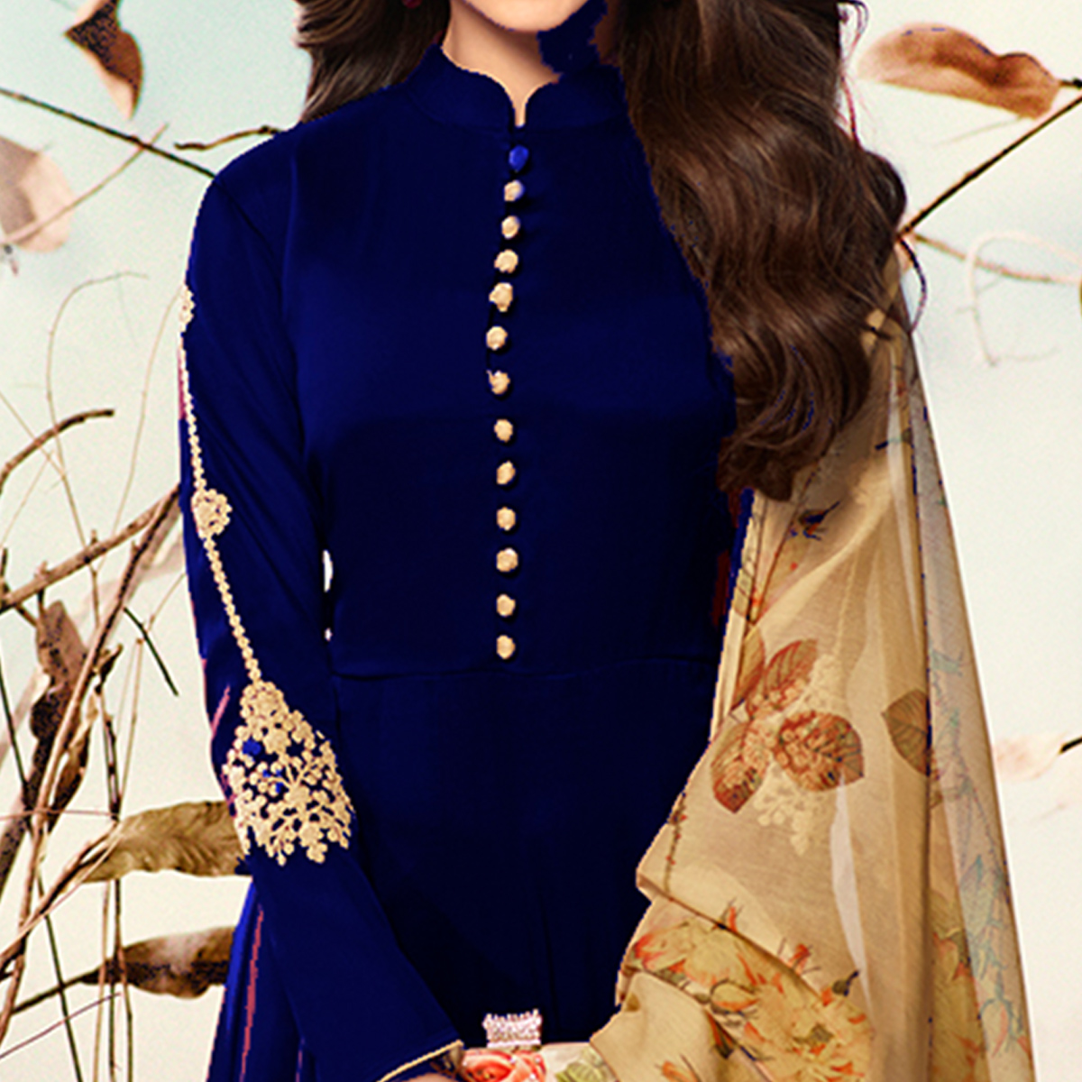 Surpassing Blue Colored Party Wear Embroidered Georgette Anarkali Suit