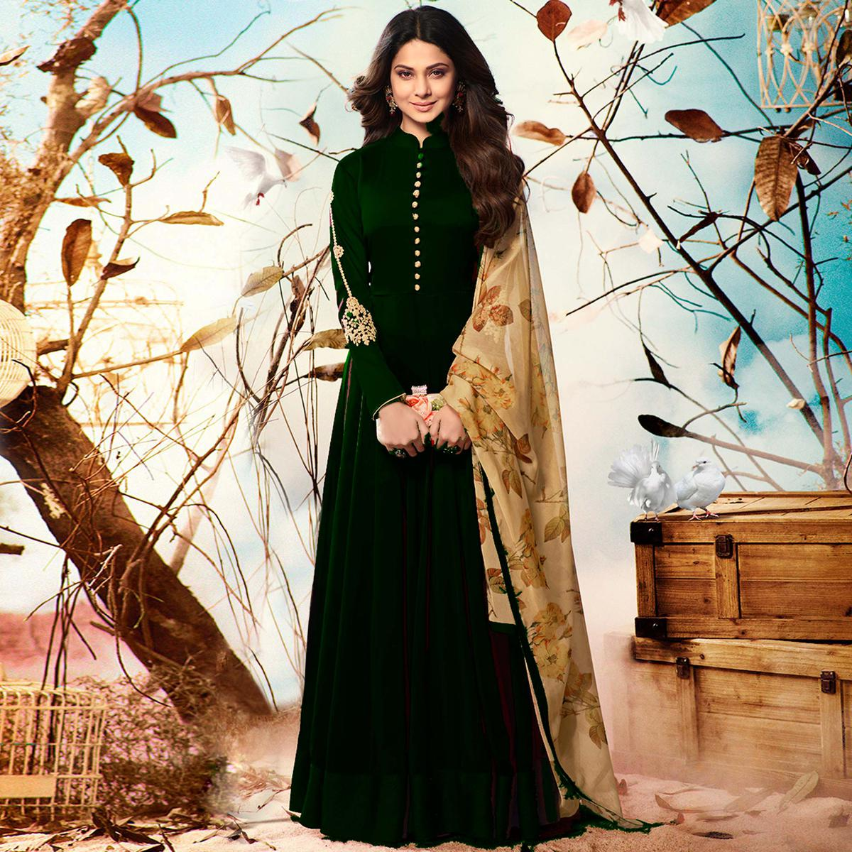 Entrancing Bottle Green Colored Party Wear Embroidered Georgette Anarkali Suit