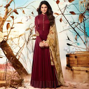 Imposing Maroon Colored Party Wear Embroidered Georgette Anarkali Suit
