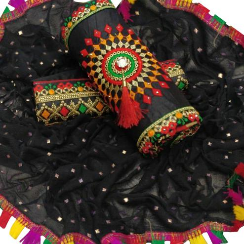 Mind Blowing Black Colored Partywear Embroidered Cotton Dress Material