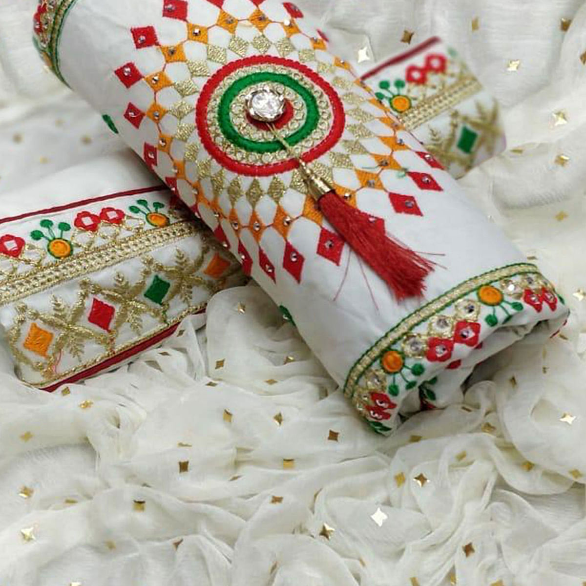 Marvellous White Colored Partywear Embroidered Cotton Dress Material