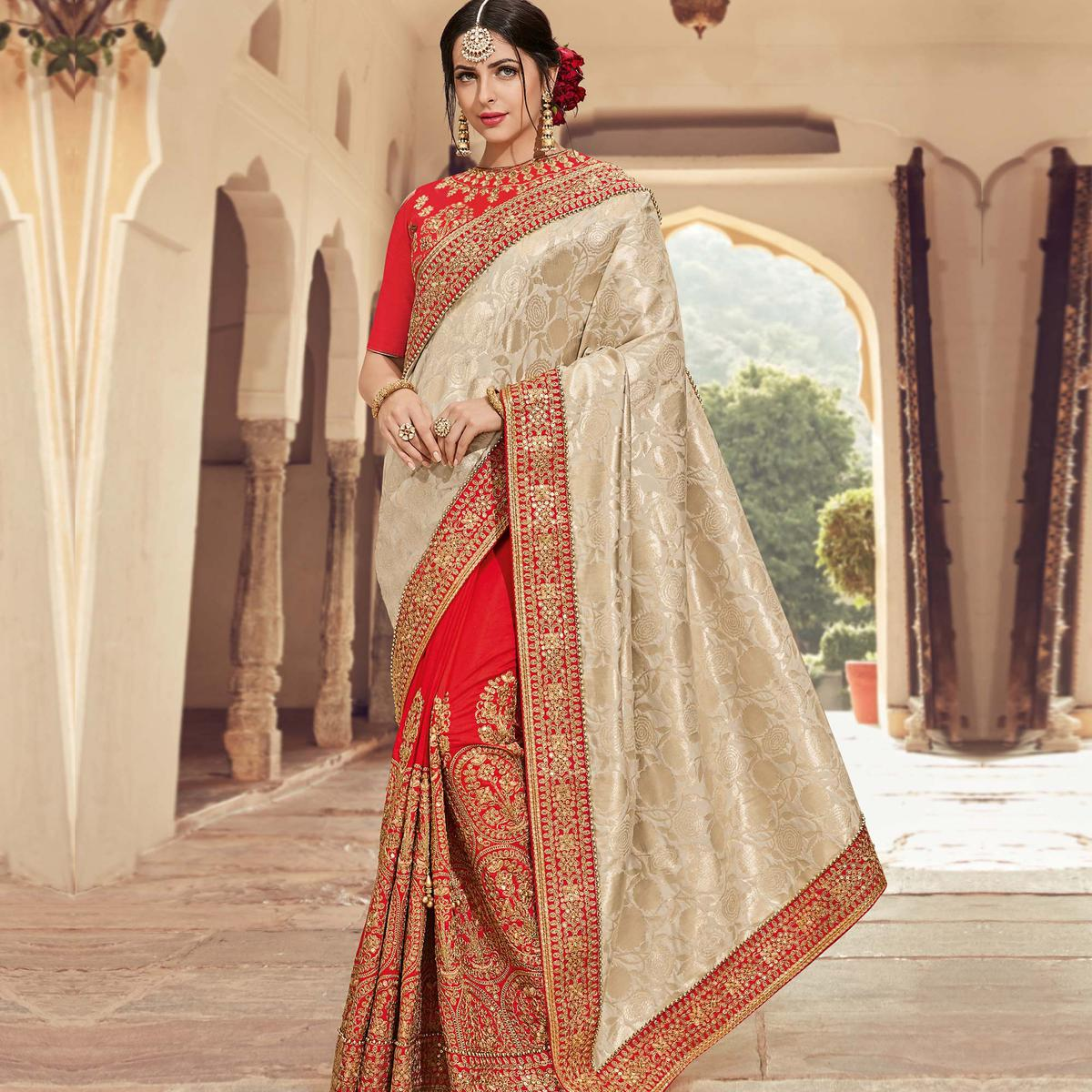 Adorable Beige-Red Colored Wedding Wear Embroidered Jacquard & Raw Silk Saree