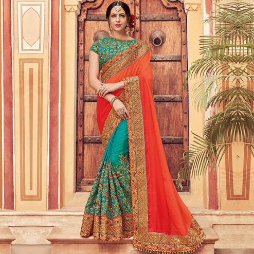 Attractive Orange-Green Colored Wedding Wear Embroidered Raw Silk & Satin Saree