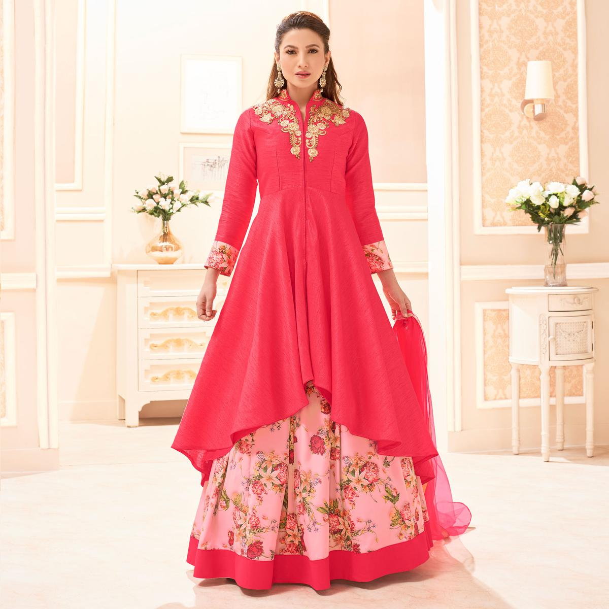 Pink Heavy Embroidered Work Lehenga Suit