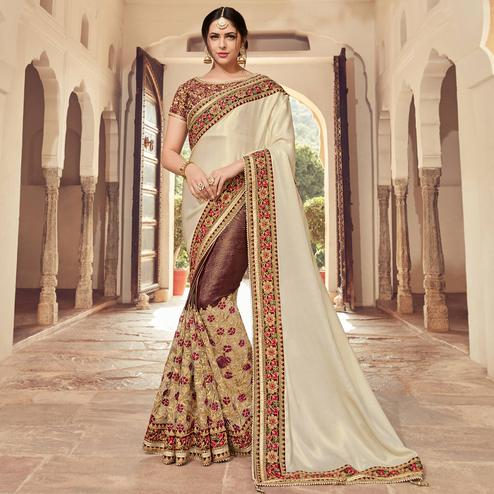 Intricate Cream-Brown Colored Wedding Wear Embroidered Satin Georgette & Lycra Saree