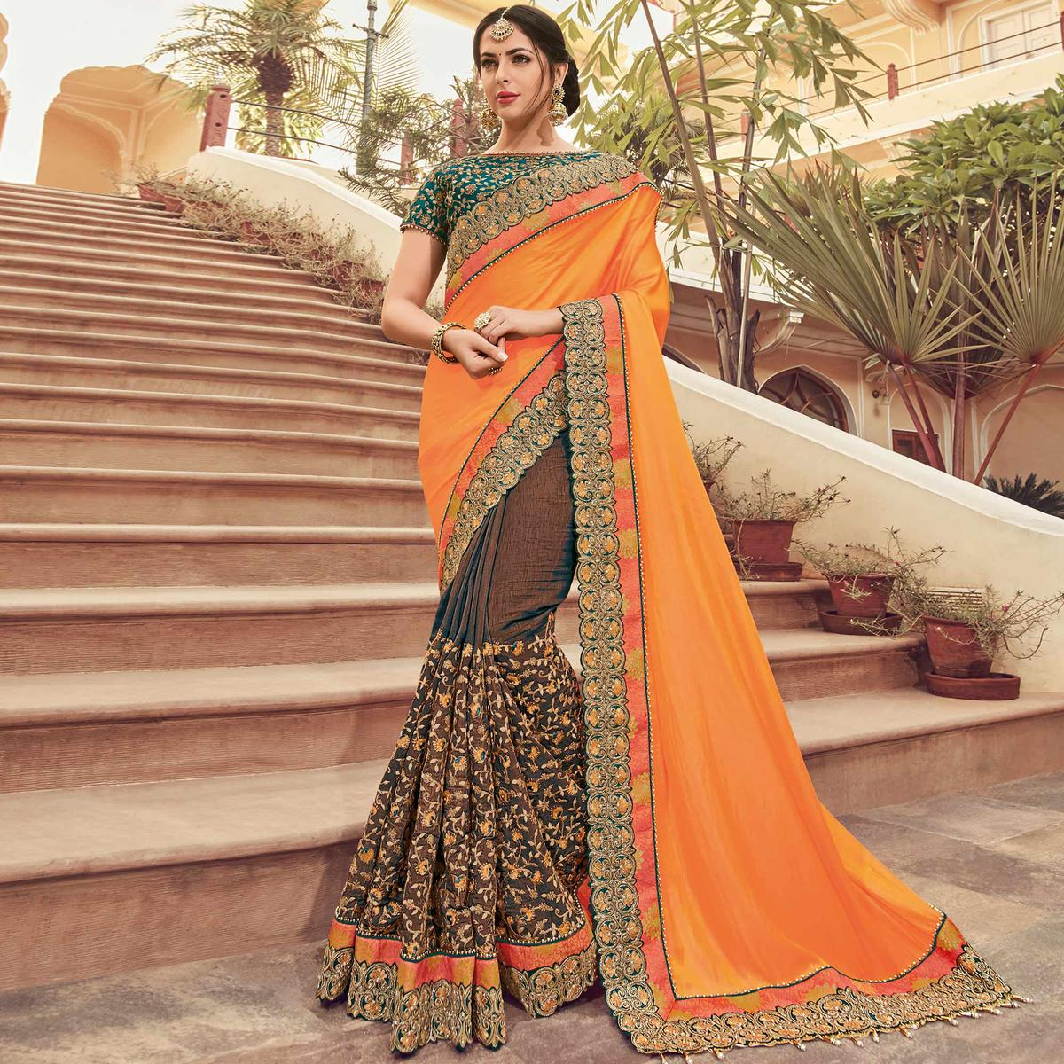 Desirable Orange-Brown Colored Wedding Wear Embroidered Satin Georgette & Raw Silk Saree