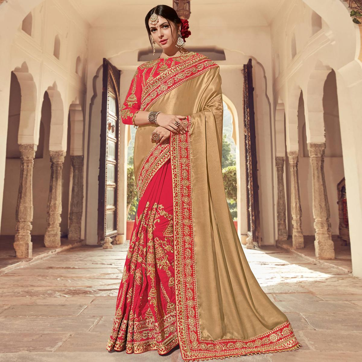 Sophisticated Beige-Red Colored Wedding Wear Embroidered Satin & Raw Silk Saree