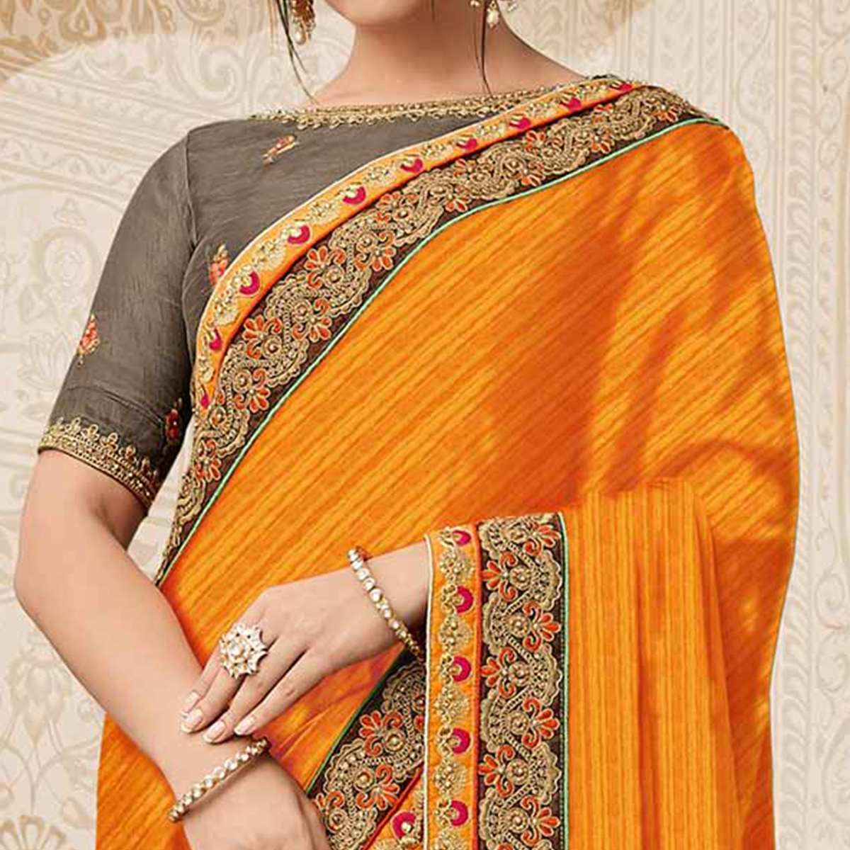 Demanding Orange-Grey Colored Wedding Wear Embroidered Raw Silk & Satin Saree