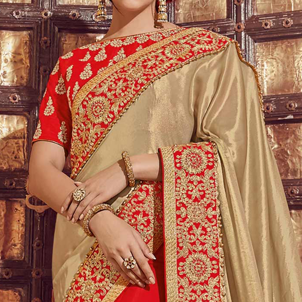 Pleasant Beige-Red Colored Wedding Wear Embroidered Lycra Saree