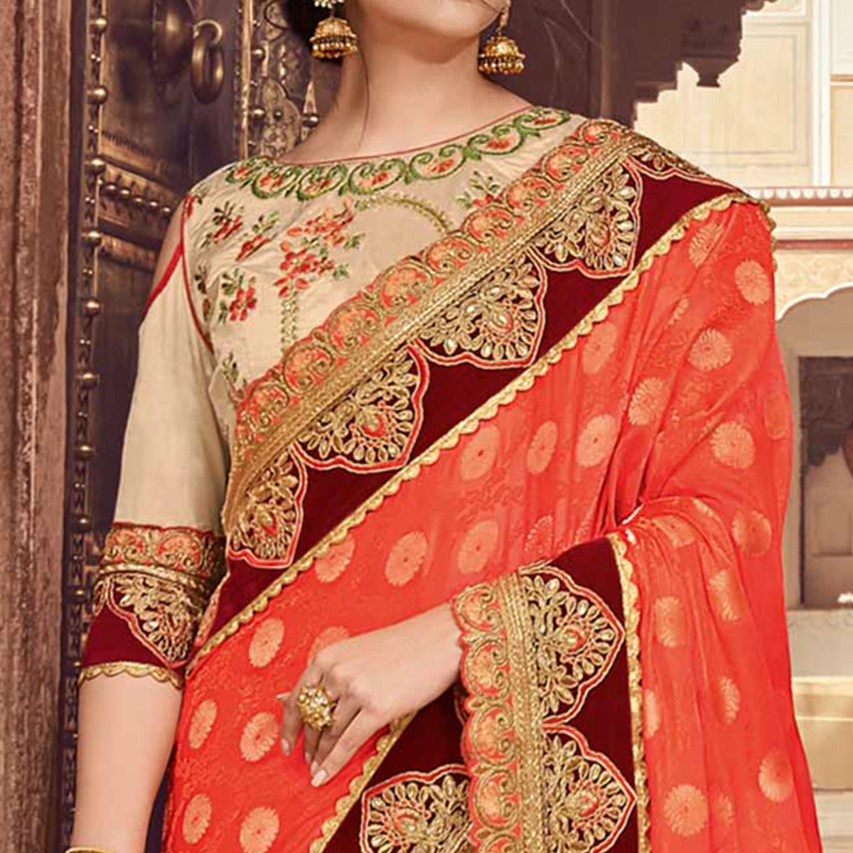 Prominent Orange-Beige Colored Wedding Wear Embroidered Jacquard - Raw Silk Saree