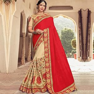 Capricious Red-Beige Colored Wedding Wear Embroidered Raw Silk Saree