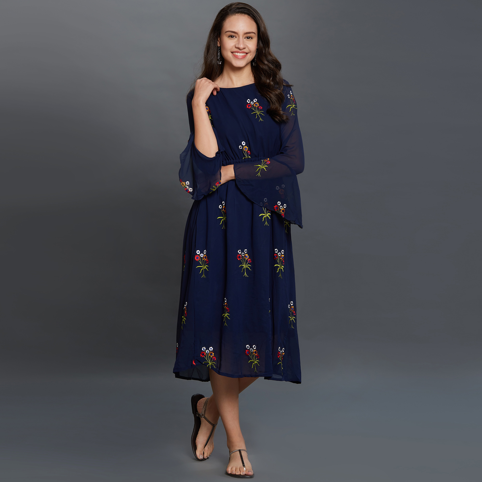 Attractive Navy Blue Colored Partywear Embroidered Georgette Kurti
