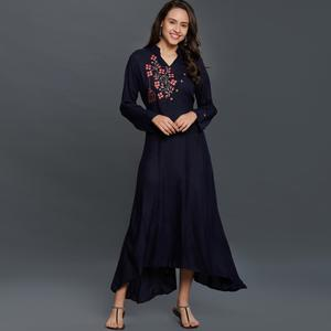 Majesty Black Colored Partywear Embroidered Rayon Long Kurti