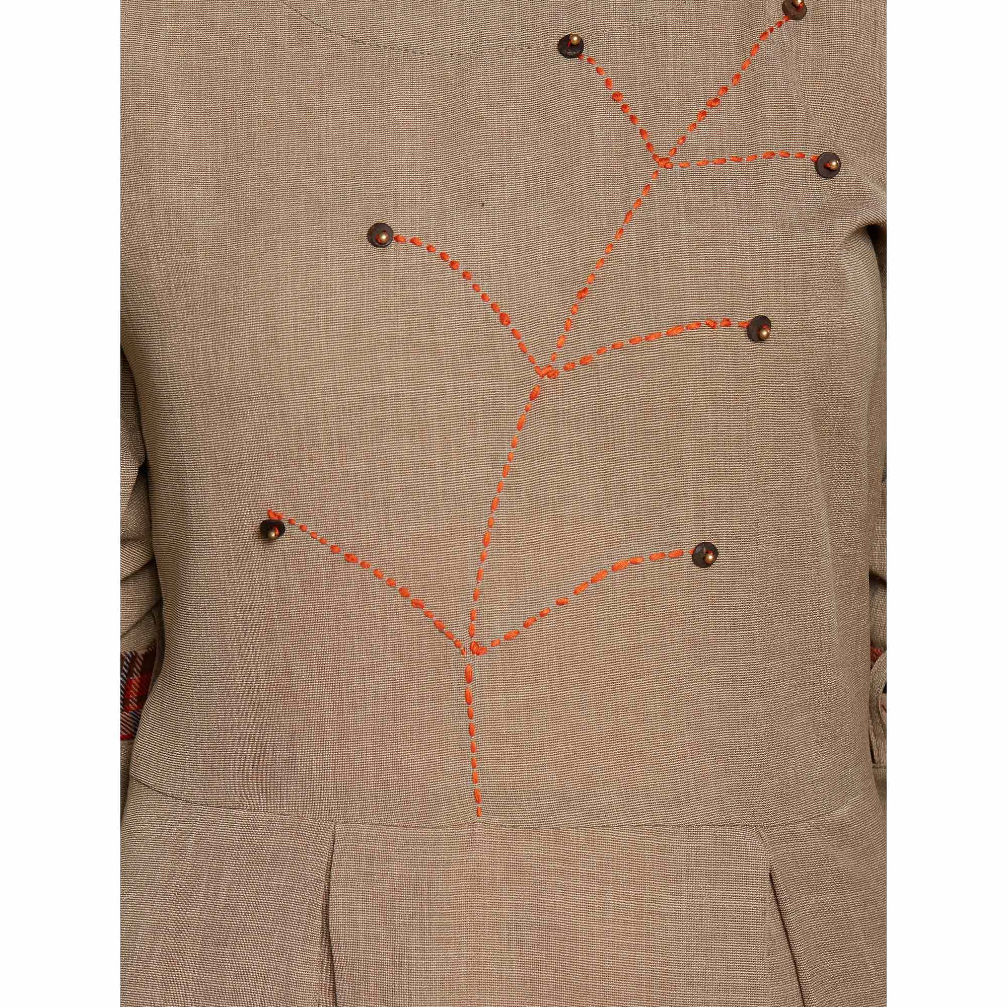 Classy Brown Colored Partywear Embroidered Cotton Long Kurti